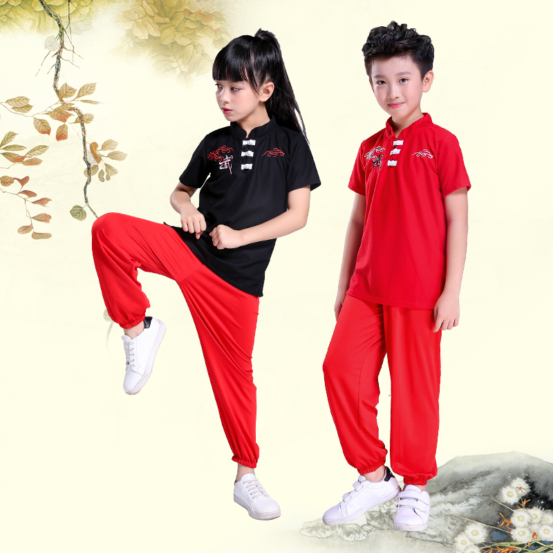 2019 Chinese National Traditional Kungfu Uniform Wushu Martial Arts Sets Kick Boxing Embroidery Suit Tops+pant Clothing For Kids