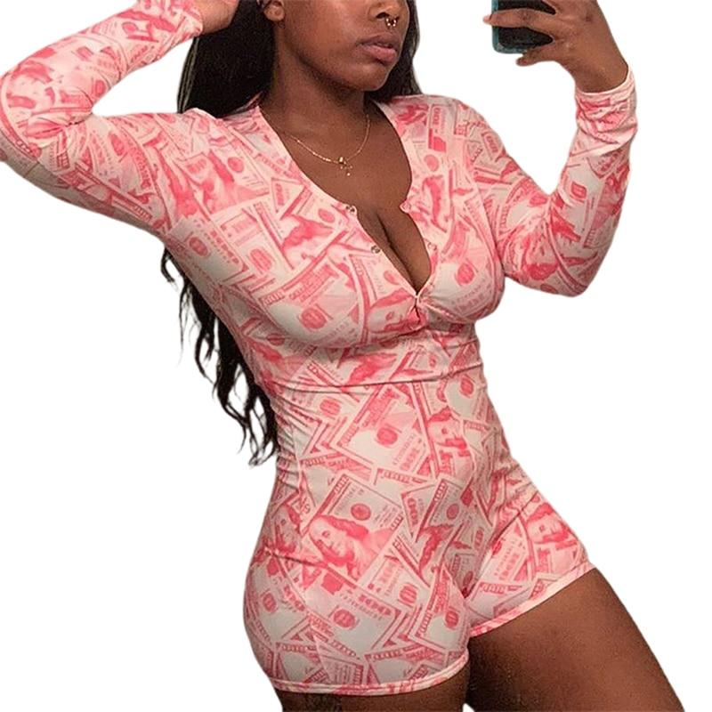 Dollar Bill Money Funny Printed Jumpsuit Sleepwear Onsie Long Sleeve Adult Women Summer Casual Nightwear Homewear Pajamas New
