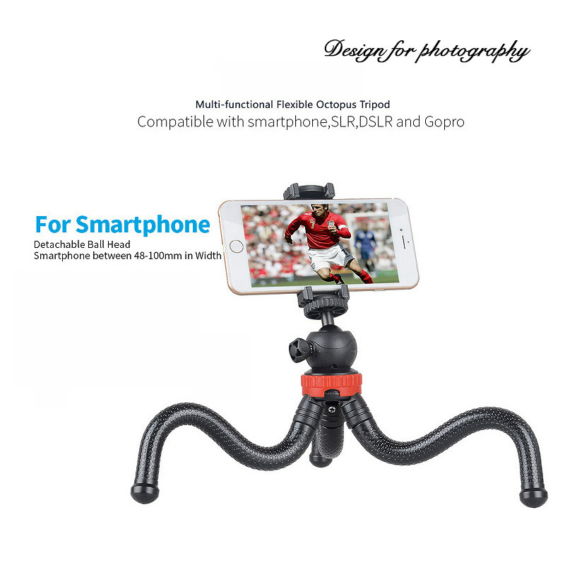 Mini Octopus Flexible Tripod Holder with Ball Head /& Phone Clamp Size: 25cmx4.5cm Durable GoPro Cellphone Tripod Mount Adapter /& Long Screw for SLR Cameras