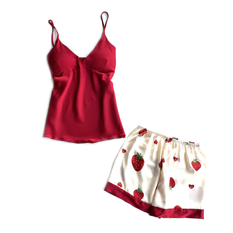 Ladies Sleepwear Sexy Camisole+Shorts Homewear Summer Silk Satin Women Cute Strawberry Printed Pajamas Set Femme Soft Housewear