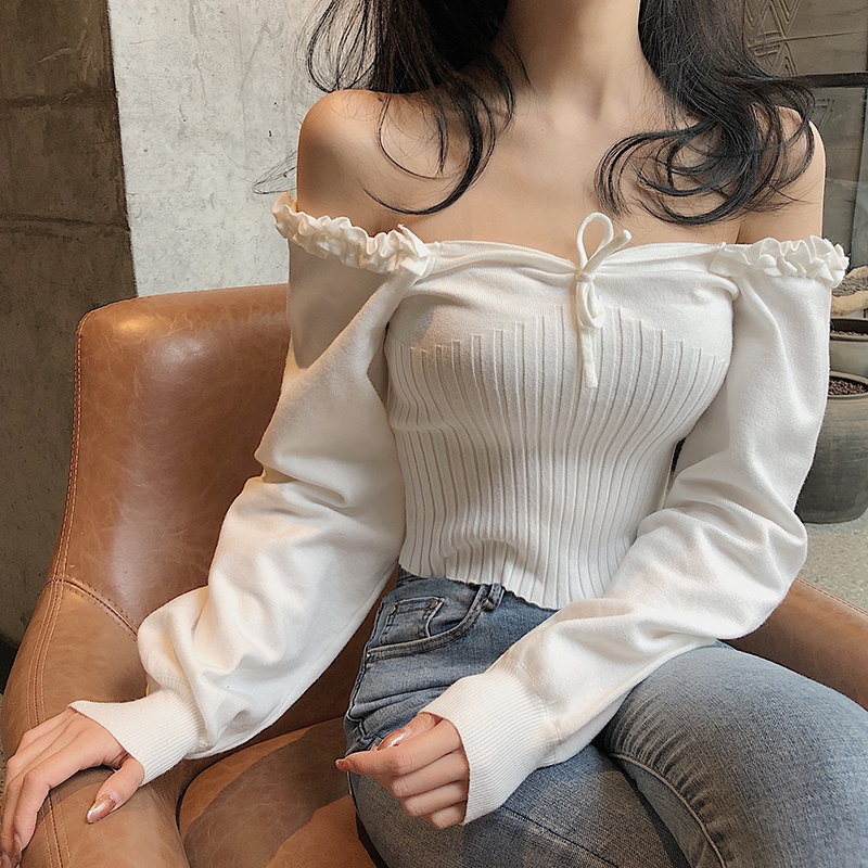 Women's French Retro Sexy Knit Tops 2020 New Spring Square Collar Long Sleeve Sweater Female Short Shirts NS1877