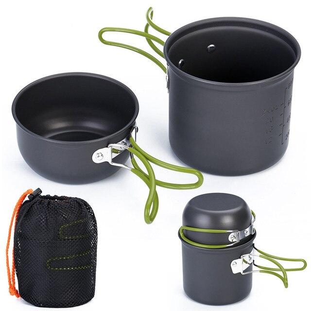 Кухонная посуда для кемпинга, антипригарная посуда для открытого воздуха, сковородки с сетчатым мешком, набор для пешего туризма, пикника, посуда, посуда