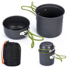 Camping Cookware Nonstick Outdoor Cooker Lightweight Pot, Pans with Mesh Bag Set for Backpacking Hiking Picnic Utensil Tableware
