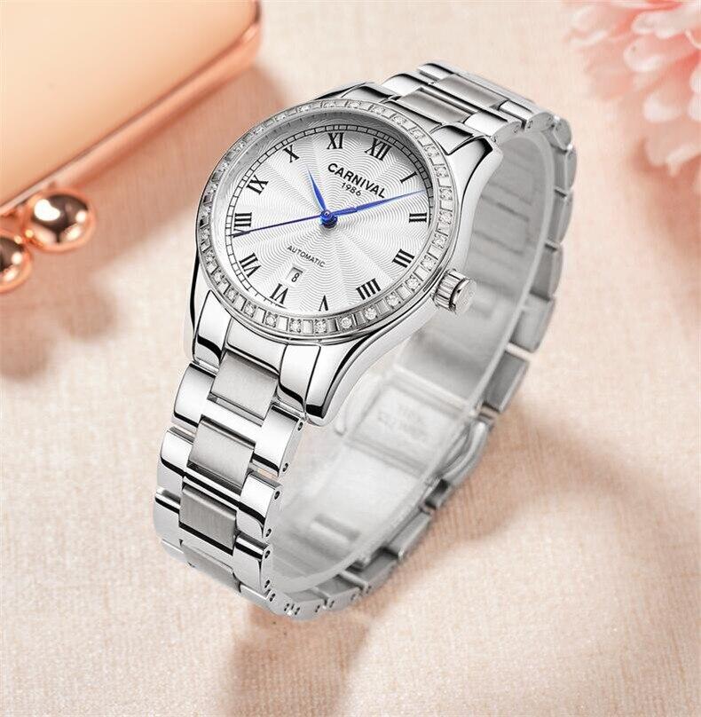 นาฬิกาข้อมือสตรีนาฬิกาสุภาพสตรีนาฬิกา Creative นาฬิกานาฬิกาหญิงอัตโนมัตินาฬิกา Relogio Feminino Montre Femme-ใน นาฬิกาข้อมือสตรี จาก นาฬิกาข้อมือ บน   2