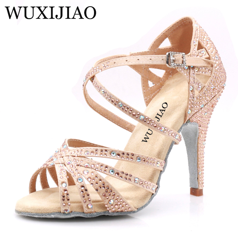 WUXIJIAO Ladies Shoes Jazz Sneakers High Heel Dance Shoes With Rhinestones Latin Dance Shoes