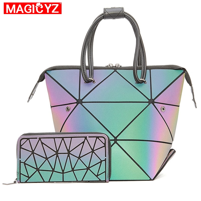 Luminous Set Crossbody Bags For Women 2019 Geometric Deform Purses And Handbags Femme Sac Holographic Lady Shoulder Tote Bag