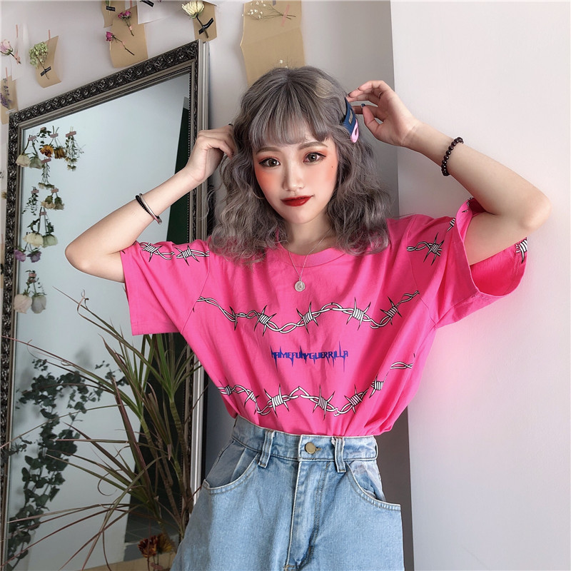 Tops Clothes Womens Goth Hip Hop Short Sleeve Casual Summer T shirts Femme Harajuku bf Streetwear Loose Girls Leisure Shirts(China)