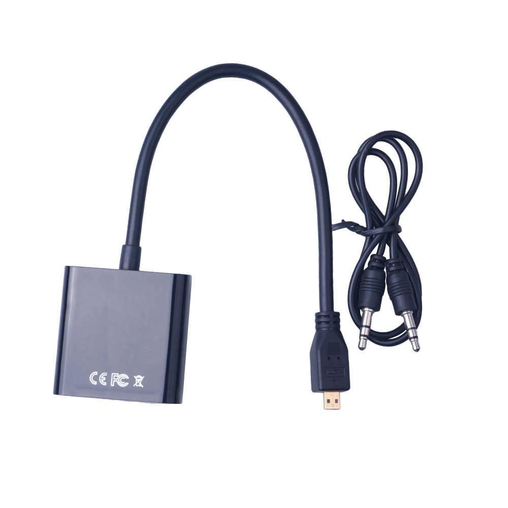 Adaptador hdmi para vga, adaptador hdmi para fêmea, adaptador vga digital para analógico, conversor de áudio para projetor pc
