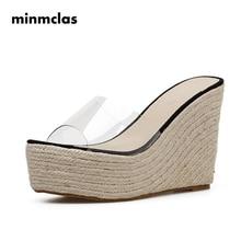 цена Espadrilles Summer Wedge Slippers Platform High Heels Women Sandals Ladies Outside Shoes Basic Clog Wedge Slipper Flip Flop в интернет-магазинах