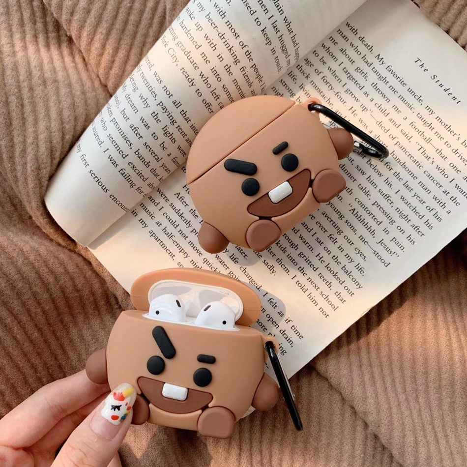 3D Rabbit Earphone Case For Airpods 2 Case Silicone Chocolate Cover for Apple Air pods Case Dinosaur For Earpods Headphone Strap