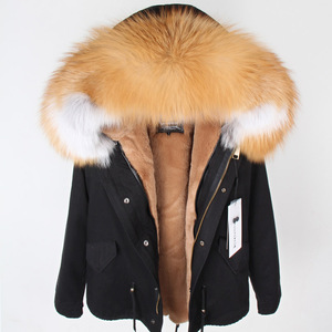 Image 3 - Mmkリアルファーコートファッションリアルフォックスファー襟の冬の女性の衣類着脱可能な肥厚ジャケットショートパイクコート