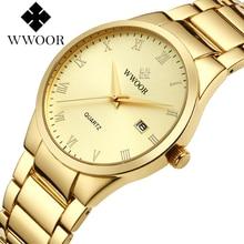 WWOOR Men Classical Analog Quartz Watch Simple Roman Numeral