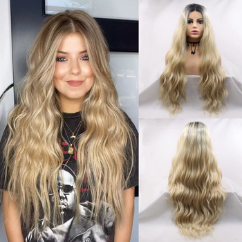 Sylvia Blonde Synthetic Lace Front Wig Loose Wave Hair Dark Root Middle Part Ombre Wigs Heat Resistant Daily Women Wig Two Tone цена 2017