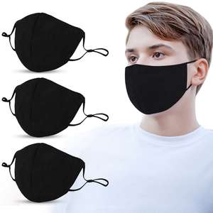 Mouth-Mask Washable Cotton Adults Black Dust-Proof Outdoor 10pcs