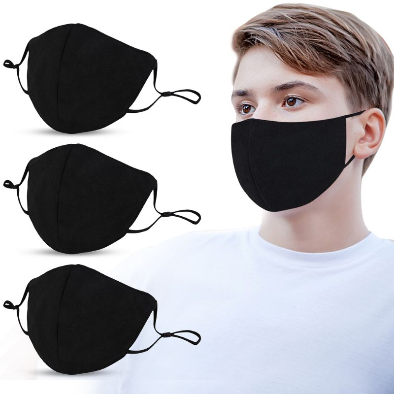 10Pcs Adults Mouth Mask Adjustable Dust Proof PM2.5 Mask Black Cotton Outdoor Mouth Mask Washable Reusable Face Masks