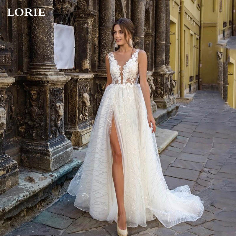 LORIE Princess Wedding Dress Side Split Glitter Sexy V Neck Appliques Lace Boho Bridal Dresses Vestidos De Novia Wedding Gowns