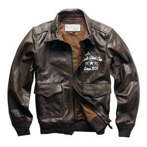 A19H1 Read Description! Asian size air force flight A2 pilot cow leather jacket genuine cowhide flying tiger leather jacket