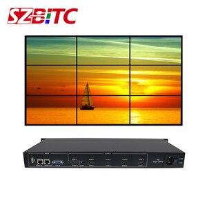 Image 1 - SZBITC 3x3 Video duvar denetleyicisi HD Splitter 1 9 out DVI VGA USB ses Video duvar işlemcisi 180 döndür uzaktan kumanda ile