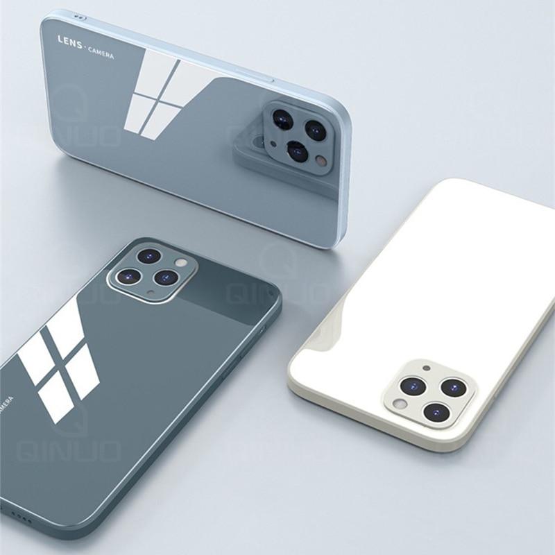 Custodia quadrata in vetro temperato liquido per iPhone 11 12 Mini Pro Max XS XR X 7 8 Plus SE2020 protezione originale per caramelle in Silicone 2