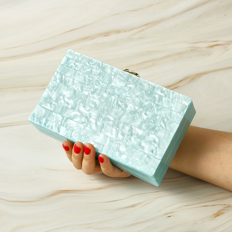 PVC Flap Women Evening Bags Shoulder Purse Acrylic Day Clutches Evening Bags Party Wedding Acrylic Box