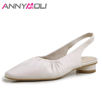 ANNYMOLI Woman Slingbacks Shoes Slip On Low Heels Fashion Pleated Thick Heel Pumps Dress Square Toe Lady Footwear Beige Apricot