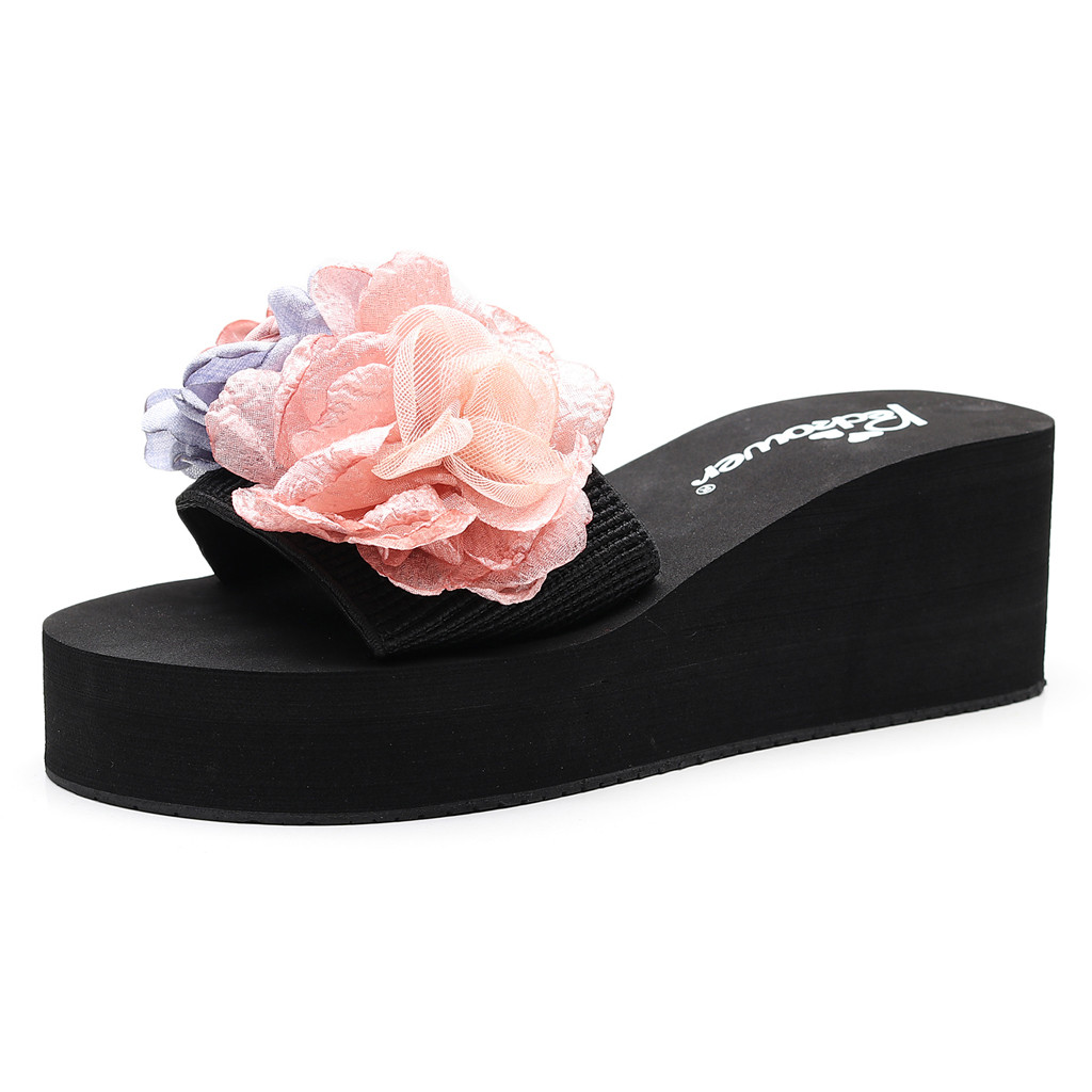 Fashion Women High Heels Sandals Women High Heel Bohemia Flowers Summer Shoes Woman Fashion Females Slippers Sandals