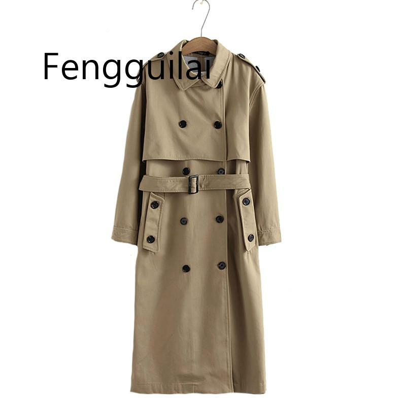 FENGGUILAI Women Casual Solid Color Double Breasted Khaki Outwear Sashes Office Coat Chic Epaulet Design Long   Trench