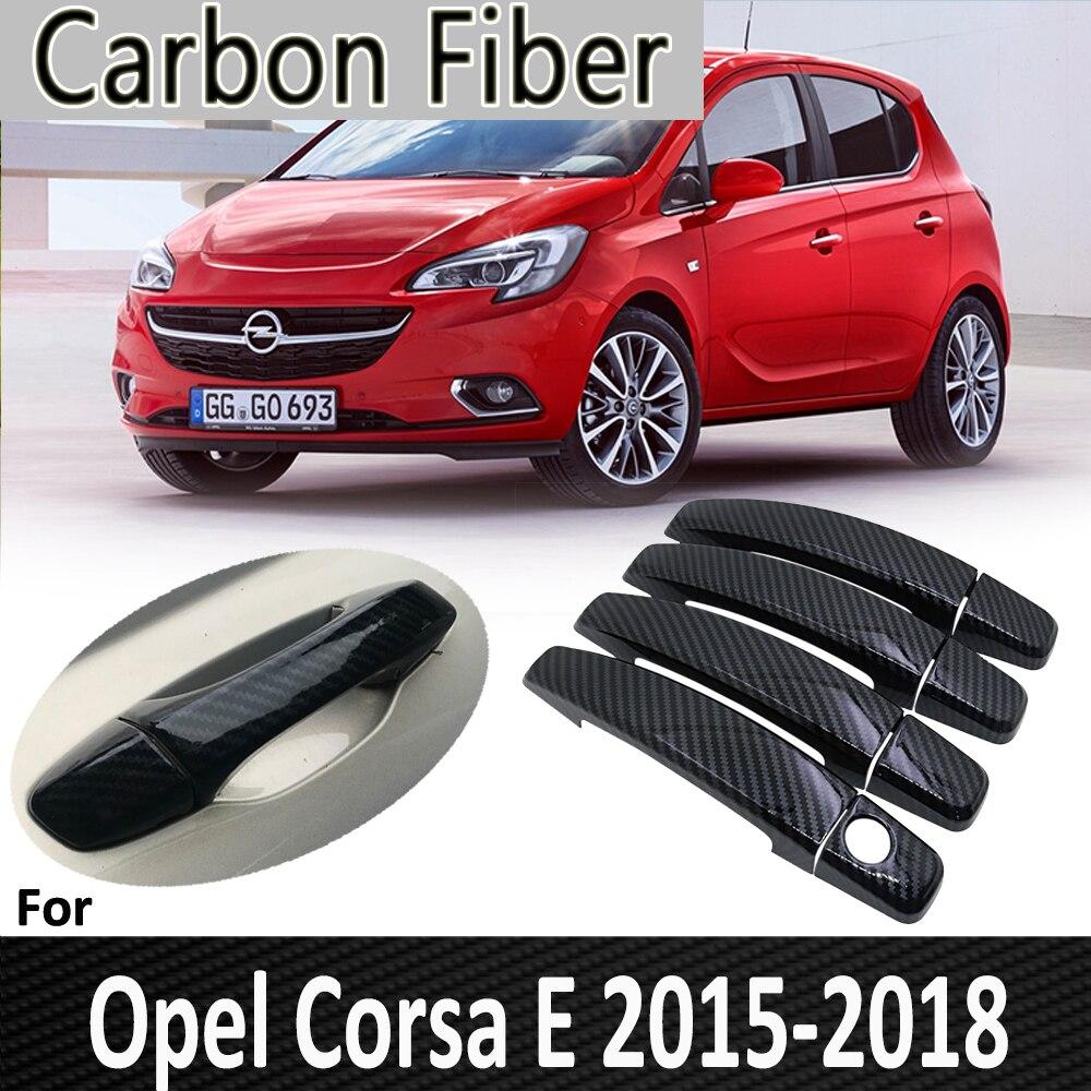 Черные узоры из углеродного волокна для Opel Corsa E 2015 2016 2017 2018 Vauxhall OPC VXR наклейка на крышку автомобильной дверной ручки автомобильные аксессуар...