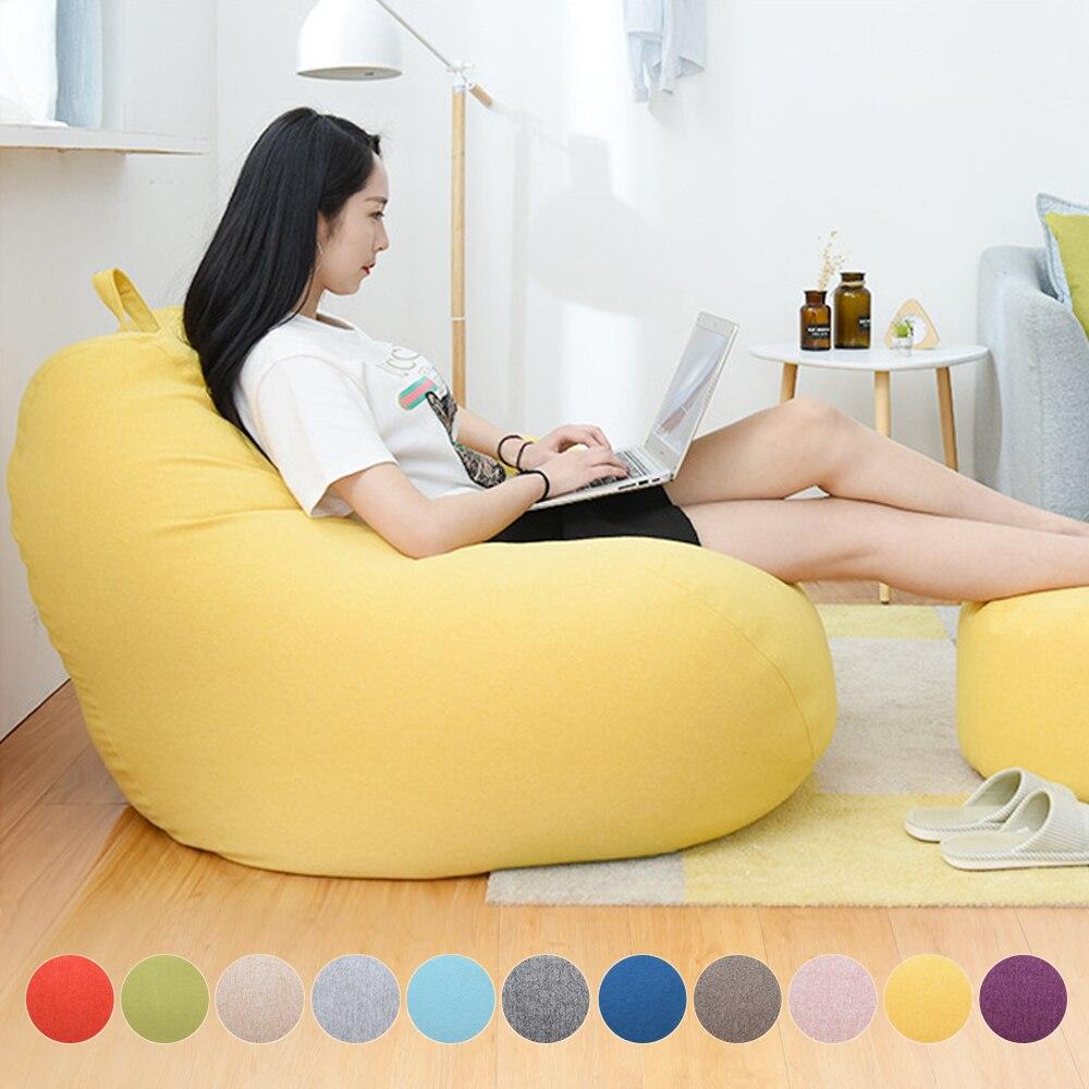 편안한 게으른 소파 커버 의자없이 필러 린넨 천으로 안락 의자 좌석 콩 가방 Pouf 퍼프 소파 다다미 거실 S/M/L