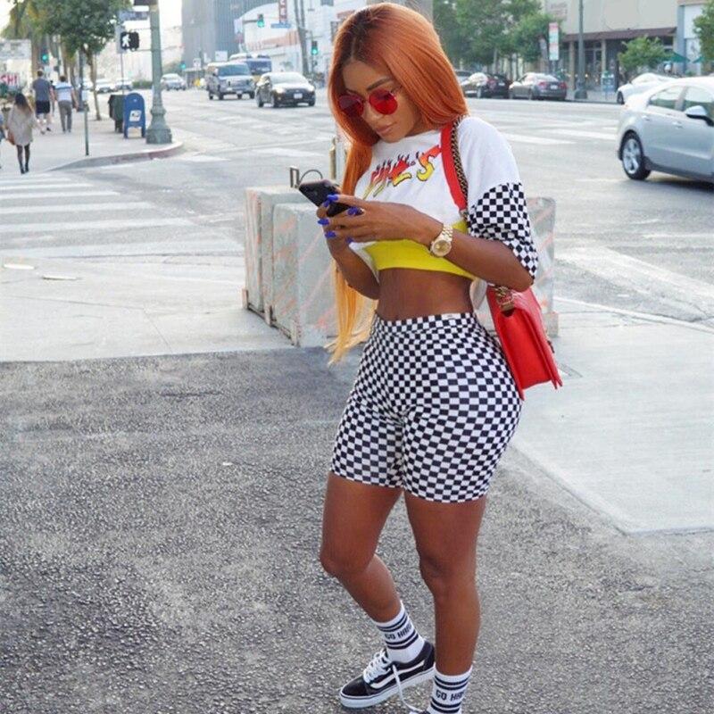 Women Fashion Casual Plaid Shorts Tight Shorts Sexy Women\\'s High Waist Sports Slim Shorts