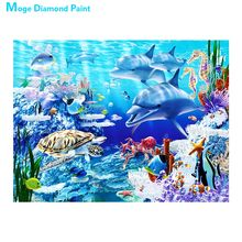 dolphin animal Moge Diamond Painting Full Round sea world scenic New DIY Toy sticking drill cross embroidery 5D home Decorative