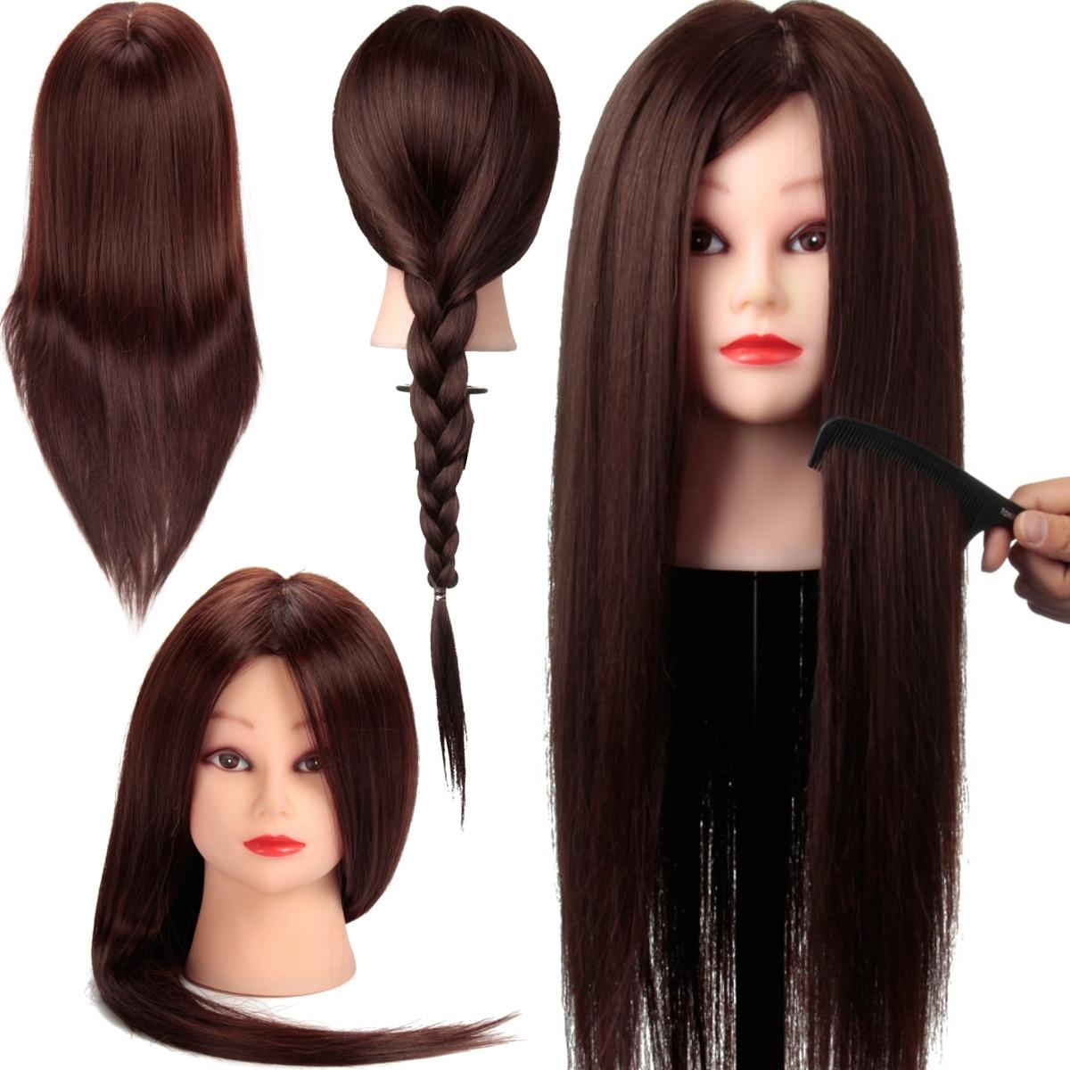 24 fibres marron cheveux formation tête Mannequin tête belle femme poupée coiffure tête cheveux Mannequin Mannequin tête coiffure