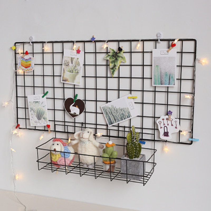 Ins Home Wall Decoration Iron Grid Decor Frame Hanging Rack Wall Display Art Storage Box Basket Mesh Shelf Rack Holder Organizer