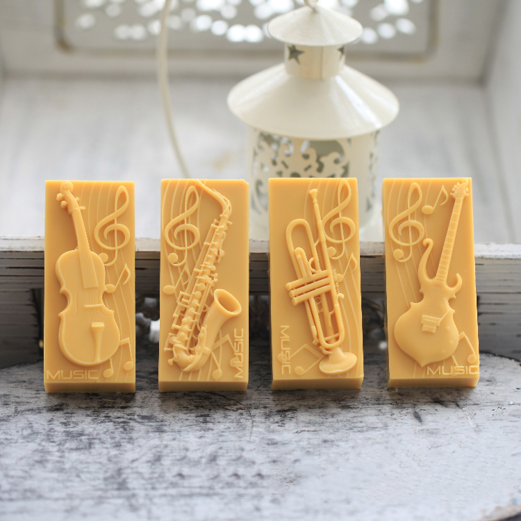 Musical Instruments Note Saxophone Guitar Bass Cake Decoration Silicone Soap Mold DIY Cake Decorating Tools Baking Mold