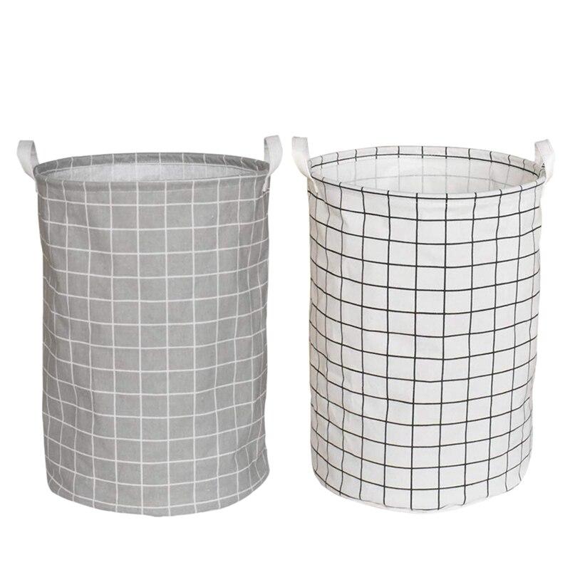 Folding Cylindric Laundry Hamper,Fabric Laundry Basket, Waterproof Coating Cotton Kids Laundry Storage Basket 2 Pack