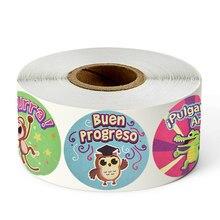 Animais dos desenhos animados adesivos 1 polegada recompensa espanhola adesivo para crianças 500 pces/rolo 8 projetos motivacionais adesivos bonitos