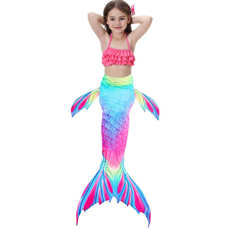 H704eea7aeb9a42a9a109d5e57e67ba980 - Kids Swimmable Mermaid Tail for Girls Swimming Bating Suit Mermaid Costume Swimsuit can add Monofin Fin Goggle with Garland