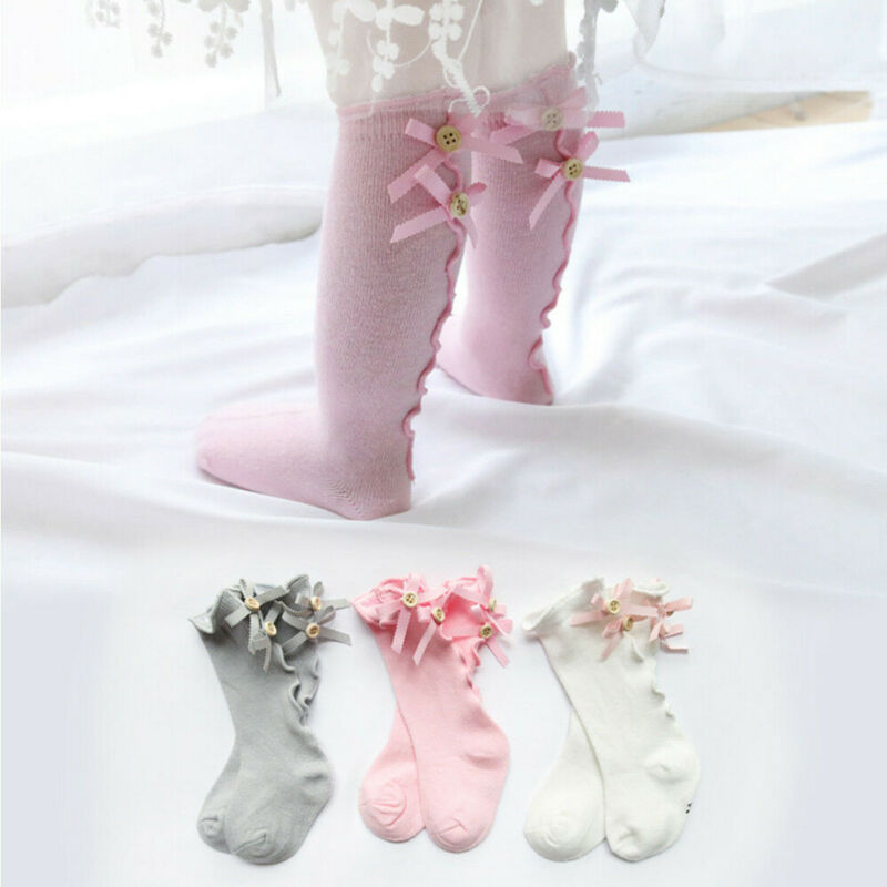 Baby Girls Kids Spanish Romany Knee Socks Bowknot Party School Stockings