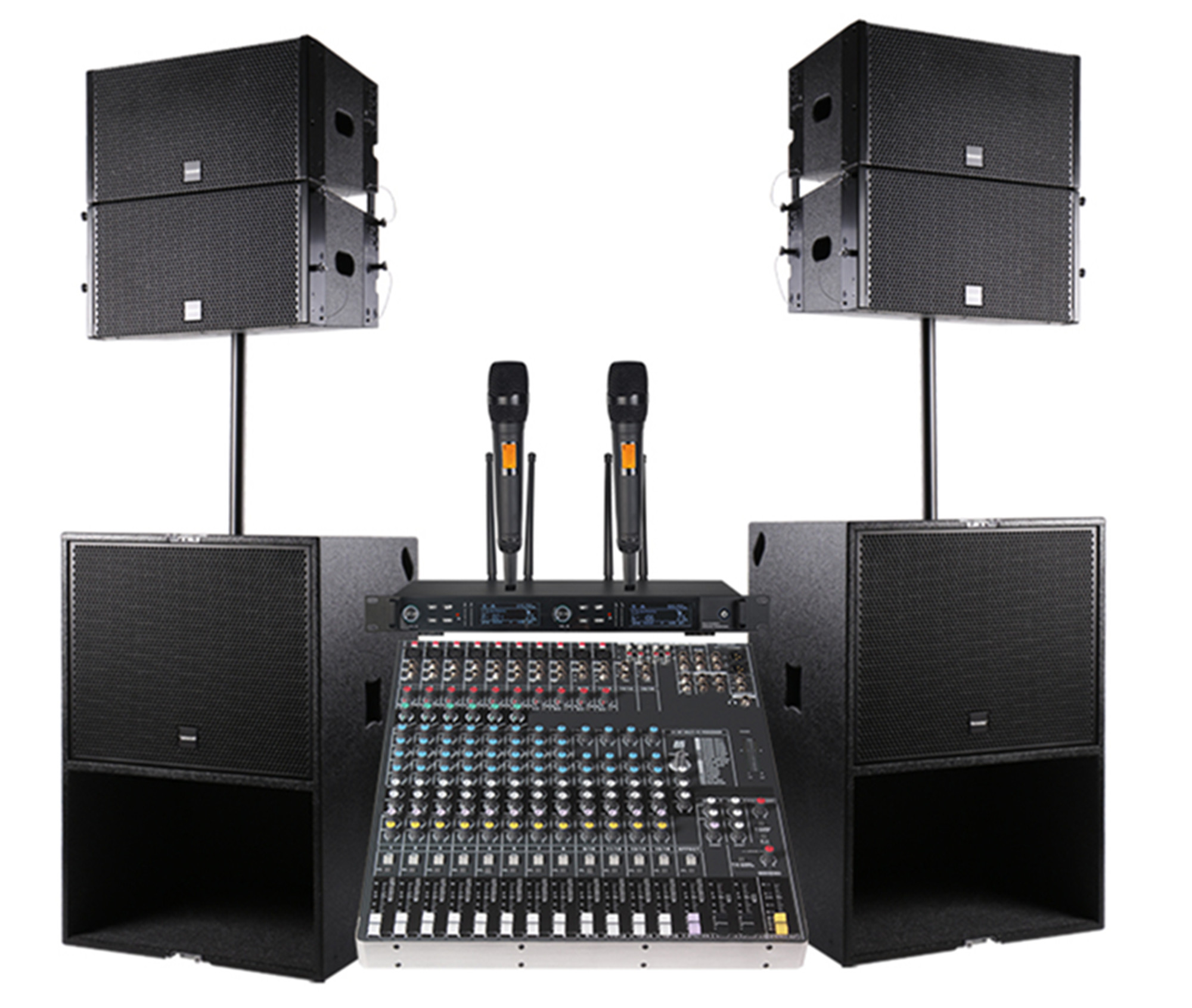 Profesional Audio DJ Line Array Speaker Q1 untuk Tahap Monitor Digital Konsol Audio DJ Mixer Power Amplifier Woofer 2*10 Saya