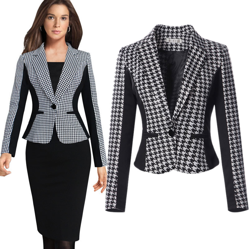 2020 Spring New Ladies Outwear Coat Plaid Color Patchwork Europe S-XXXL Plus Size  Notched Office Womens Blazers