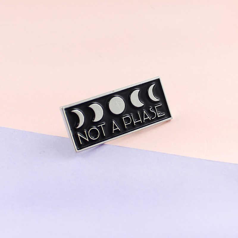 Preto quadrado moda metal cartão esmalte pino estrela lua carta gravado não um saco de fase denim distintivo jóias lapela broche presente