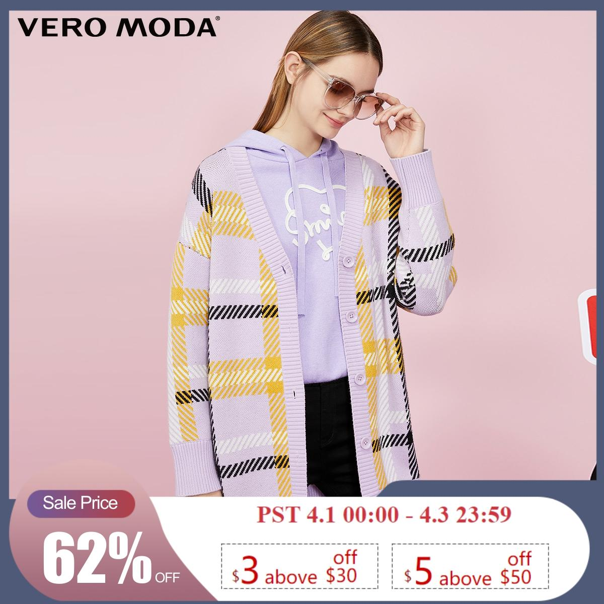 Vero Moda New Mid-length Plaid V-neck Single Breasted Off Shoulder Knit Cardigan | 319325501