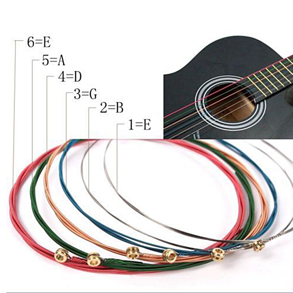 6 Pcs/Set New Colorful Guitar Strings Acoustic Guitar Accessories 6 Different Colorful Strings Guitar Parts #2