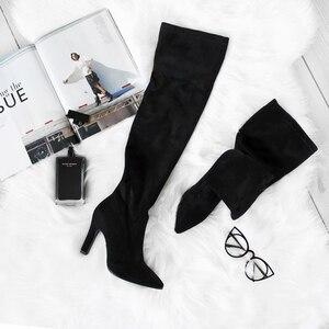 Image 2 - QUTAA 2020 kadın diz üzerinde yüksek çizmeler kış üzerinde kayma ayakkabı ince yüksek topuk sivri burun tüm kadınlar için çizmeler boyutu 34 43