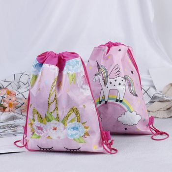 1pcs Unicorn Non-woven Bag Backpack Kids Travel Reusable Folding Grocery Cloth School Decor Drawstring Gift Home Storage - discount item  30% OFF Special Purpose Bags