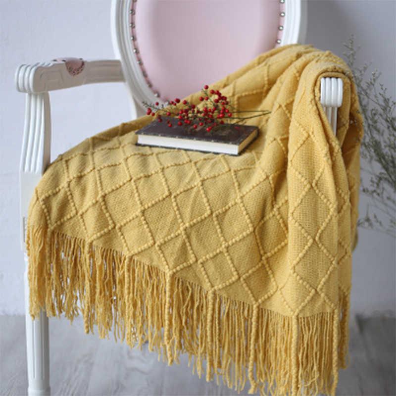 Yomdid одноцветное одеяло с нитью сон в путешествиях одеяло s весна осень мягкий теплый диван плед геометрический большое полотенце с кисточками