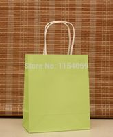 Free Shipping 90pcs/lot 18x15x8cm Green Paper Bag Handled Kraft Paper Jewelry Gift Packaging Bag Shopping Bags For Boutique