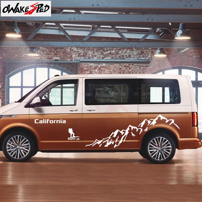 Mountain Graphics For Volkswagen Multivan T4 T5 T6 Outdoor Sport Car Sticker Auto Body Door Side Stripes Customized Vinyl Decal