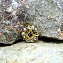 Masonic Lapel Pins Badge Mason Freemason  Rhinestones Round