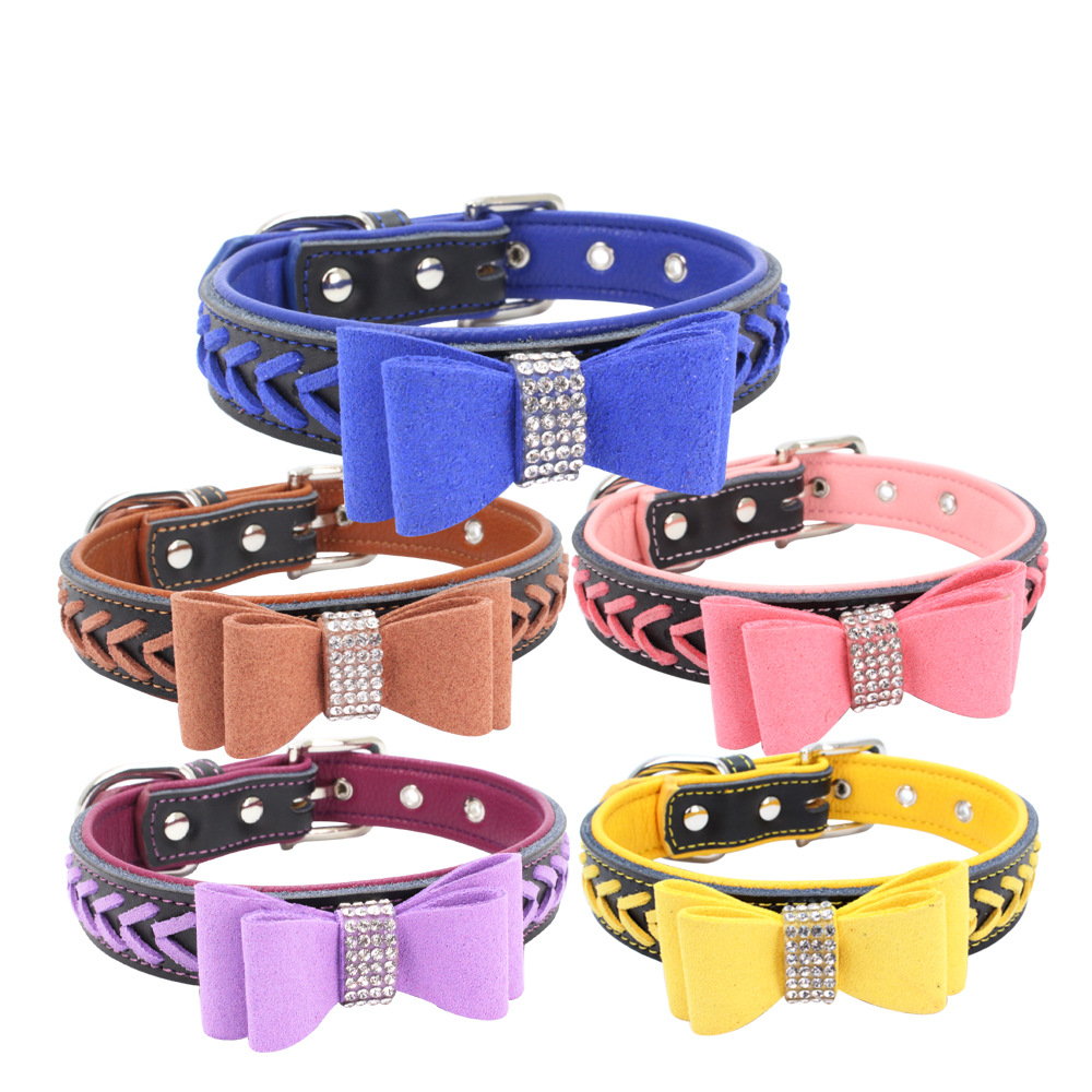 Jin Ling Jie Man-made Diamond Bow Pet Collar Customizable Hand-woven Genuine Leather Soft And Comfortable Dog Chain Large Amount